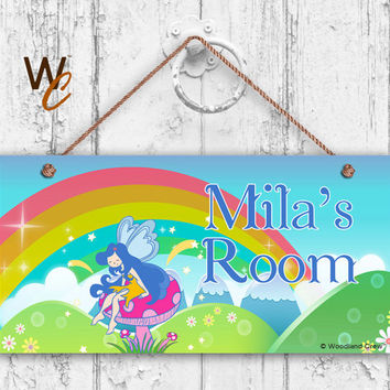 Fairy Personalised *ANY LETTER /& NAME kids Childs Room Door Sign Plaque m pink
