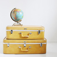 Pair of Feather Lite Suitcases - Yellow Luggage