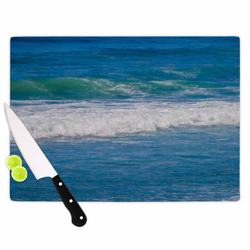"Nick Nareshni ""Solana Beach Rolling Waves"" Blue Coastal Cutting Board"