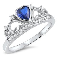 Sterling Silver Sim. Blue Sapphire Heart Crown Ring