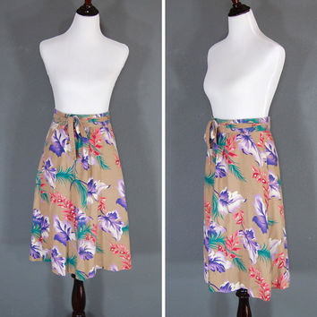 Vintage Wrap Skirt / Floral Print / Multicolored / 1980's