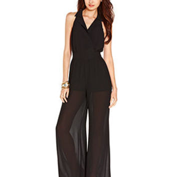 XOXO Juniors Jumpsuit, Sleeveless Cutout Illusion Palazzo Pants - Juniors Jumpsuits & Rompers - Macy's