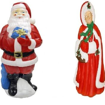 Mr & Mrs Santa Claus Outdoor/Indoor Light Up Yard Christmas Decoration Plastic Blow Mold