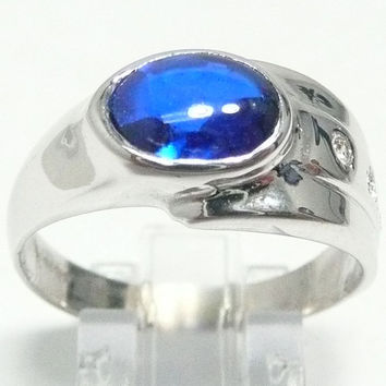 14k White Gold New NWOT Oval Synthetic SAPPHIRE TW 0.10 ct Genuine Diamonds Mens Ring Masculine Handcrafted Men's Jewelry