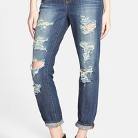 Junior Women's Articles of Society Destroyed Girlfriend Jeans (Medium)