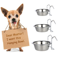 Practical Stainless Steel Hanging Pet Dog Cat Cage Bowl Kennel Coop Cup Bowl for Dog Bird Rabbit Dog Feeding Watering Supplies