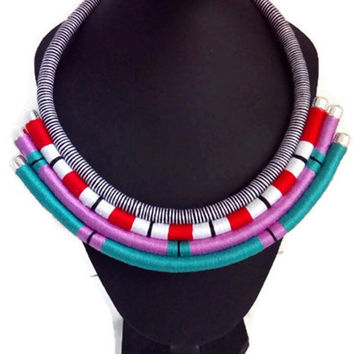 Wrapped rope necklace. African tribal necklace. Boho chic necklace. Tribal statement necklace. Multistrand necklace. Multicolored necklace