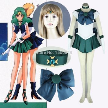 Athemis Anime Sailor Moon Michiru Kaioh/ Sailor Neptune Cosplay Costume custom made Dress High Quality