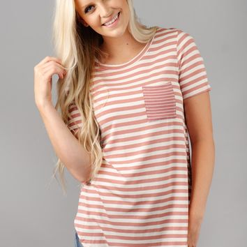 Mixed Stripes Pocket Tee