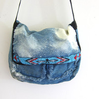 vintage jean purse. beaded denim purse. bleached out crossbody purse. denim shoulder bag.