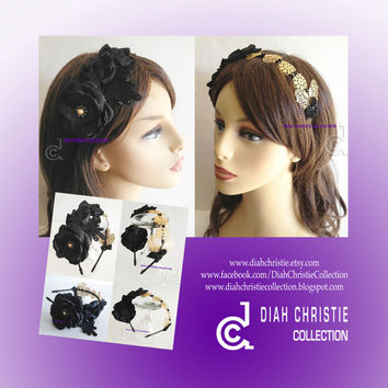 Black gold flower headband, 1920s inspired headband, elegant  filigree hair accessories, black leaf  fashion headband, spring summer 2014