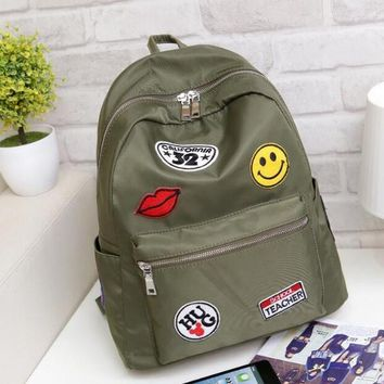 Cool Nylon Backpack with Patches