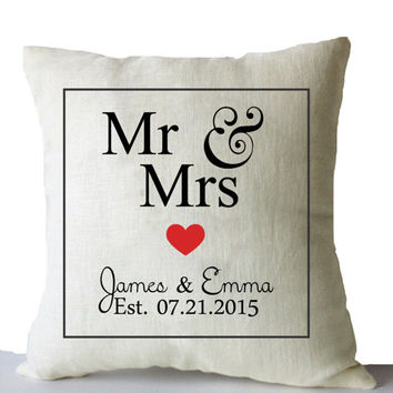 Personalized Wedding Gift Engagement Anniversary Throw Pillow Covers Mr Mrs Est Date Linen