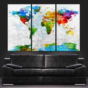 Pastel Colors Watercolor World Map Canvas Art Print - Contemporary 3 Panel Triptych Colorful Rainbow Colors Large Wall Art - 534723167