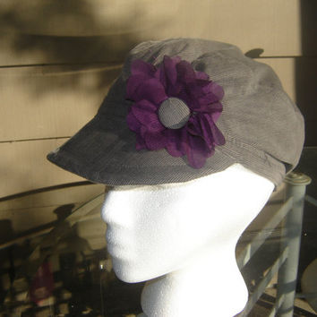 Cadet Cap, Military Cap, Corduroy Gray, Pleated front, Elastic Back, Purple Flower Accent