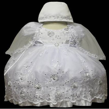 Baby Girl Toddler Christening Baptism Dress Gowns outfit set with bonnet /XS/S/M/L/XL/0-3M/3-6M/6-12M/12-18M/18-24M/XSMALL/SMALL/MEDIUM/LARGE/XL/2t/#5609