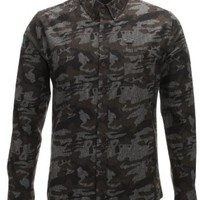 FLATSEVEN Mens Slim Fit Casual Cotton Shirts Military Camo Pattern