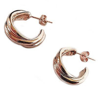 Twist Hoop Earrings 18k Rose Gold Plated Polished Fashion e703g