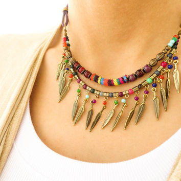 Feather boho necklace, purple bohemian jewelry beaded ethnic necklace pendant necklace maroon necklace best friend birthday best friend gift
