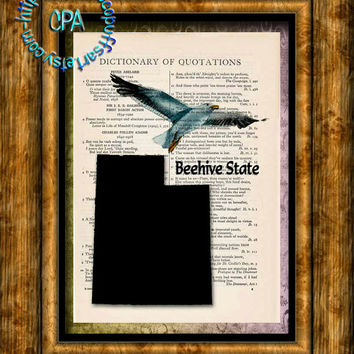 UTAH State Black Silhouette, State Bird, State Nickname Beehive Art - Vintage Dictionary Page Art Print Upcycled Page Print