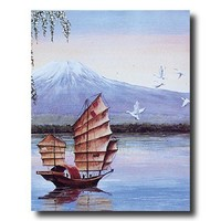Japanese River Boat Asian Wall Picture Art Print