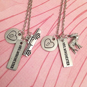 Mrs. Winchester Necklaces - Sam and Dean Winchester Necklaces - Supernatural Jewelry - Team Free Will Jewelry - Fandom Jewelry