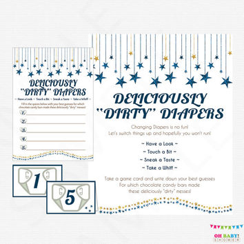Dark Blue and Gold Baby Shower Game Deliciously Dirty Diapers Guess the Diaper Mess Game Candy Bar Mess Diaper Game Boy Glitter SGS0002-dbg