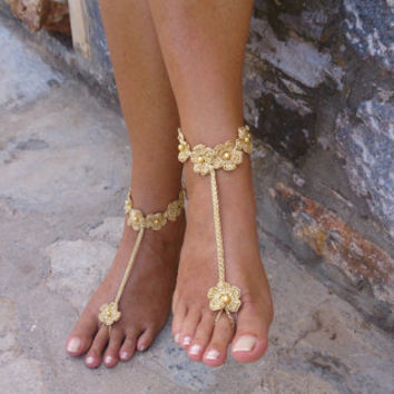 Gold  Wedding  Barefoot Sandals Flowers with pearls,  Crochet Wedding Shoes , Foot Jewelry, Brides Accessories