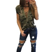 hirigin women V neck chest cross bandage T shirt loose camouflage print cool femme shirts pleated army green gray t shirt female