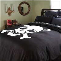 Jolly Roger Skull Duvet Cover - King (Ships August) - Jolly Roger Duvet Cover - Sin In Linen