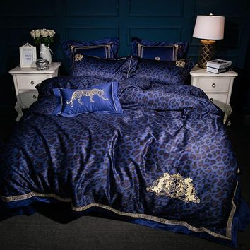 Cool 4/6/7Pcs High TC Egypt Cotton Leopard glamour Luxury Bedding Set Embroidery Duvet cover set Bed Sheet Pillowcase Queen King SizeAT_93_12
