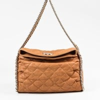"Chanel 11C Tan Leather Quilted Flap ""Chain Around"" Hobo Bag"