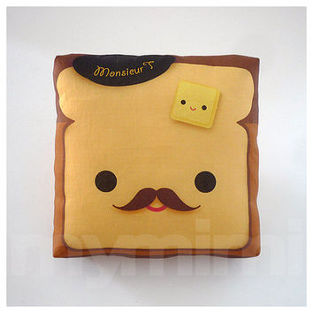Decorative Pillow, Mini Pillow, Toy Pillow - Kawaii Print - Monsieur Toast