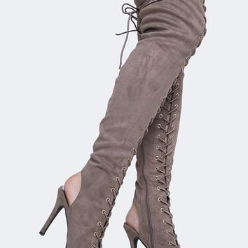 Lace Up Thigh High Boot
