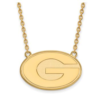 NCAA 14k Gold Plated Silver U of Georgia Large 'G' Pendant Necklace