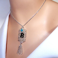 Chainmaille tag necklace with Swarovski crystal aquamarine bicone and a letter charm, womens necklace, bridal gift, for girls, prom necklace