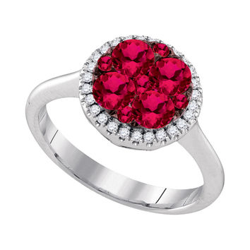 14kt White Gold Womens Round Ruby Cluster Diamond Halo Bridal Ring 1-1/8 Cttw 94736