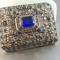 Vintage Filigree Rhinestone Brooch, Art Deco Pot Metal, Blue Paste