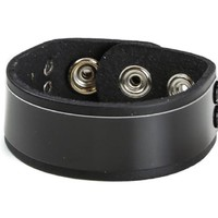 "Black Metal Plate Quality Leather Wristband Bracelet Cuff 1"" Wide"