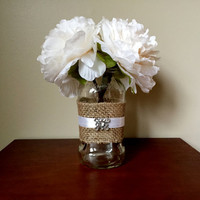 Rustic White Flowers in Jar with Burlap/Mason Jar Flowers/Twine with Flowers/Rustic Mason Jar Flowers/Burlap Mason Jar/Rustic Wedding Flower