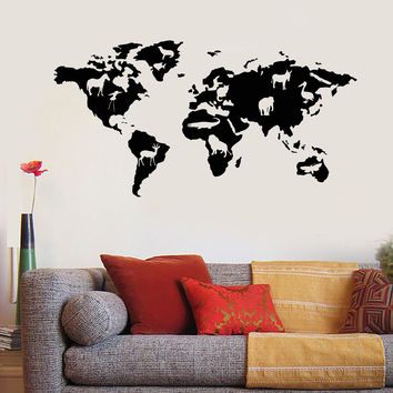 Vinyl Wall Decal World Map Animals Nature School Geography Stickers Unique Gift (945ig)