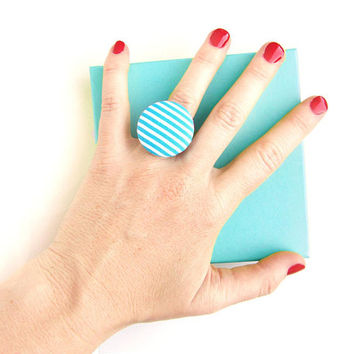 Large blue ring - big turquoise fabric ring - striped button ring -  summer ring - white stripes - bright jewelry - gift for her -adjustable