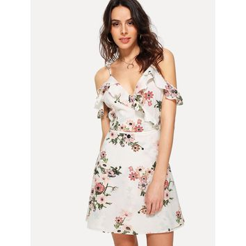 White V-Neck Floral Print Fit And Flare Dress