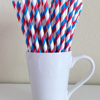 Paper Straws - 25 Red, White, and Blue Striped Patriotic Party Straws 4th of July Military Memorial Day Summer BBQ Wedding Graduation
