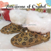 PROMOTION WINTER Bling and Sparkly Leopard Strass SheepSkin Cuff Wool BOOTS w shinning Czech or Swarovski crystal