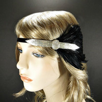 Great Gatsby Headband, 1920s Headpiece Wedding Bridesmaid Gifts Downton Abbbey Flapper Costume Party Silver Beaded Black Feather Fascinator