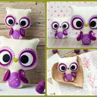 PDF. Big eyes owl and small owl brooch. Plush Doll by Noialand