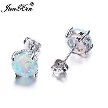 JUNXIN Bohemia Fire Opal Earrings For Women Ladies White Blue Ruby Amethyst Round White Gold Filled Double Side Stud Earrings