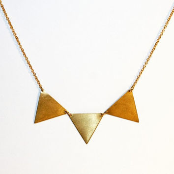 Brass triangle necklace bunting necklace by littlepancakes on Etsy