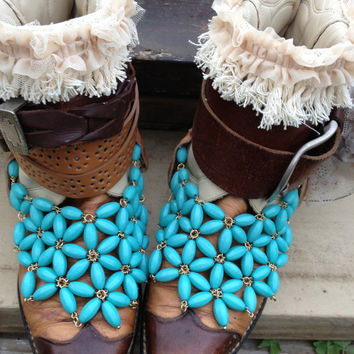 Southwestern, Sante Fe Sally Boots size 8, Turquoise, Gypsy BOHO, Womens shoes, shoes